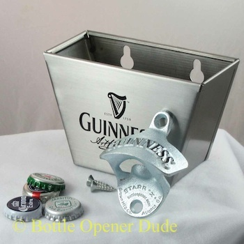 guinness combo starr x wall mount bottle opener stainless cap catcher set new. Black Bedroom Furniture Sets. Home Design Ideas
