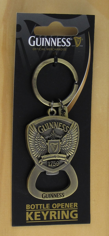 guinness wings bottle opener key chain antique brass finish look solid metal new. Black Bedroom Furniture Sets. Home Design Ideas