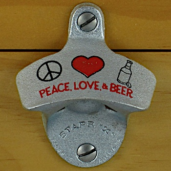 peace love and beer combo starr x wall mount bottle opener metal cap catcher set ebay. Black Bedroom Furniture Sets. Home Design Ideas