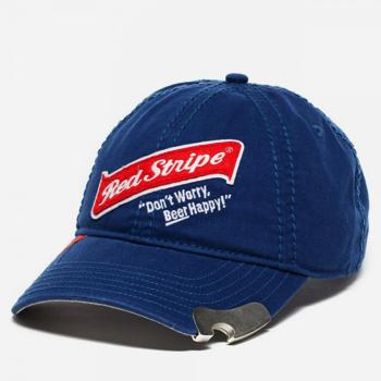 Red Stripe Beer Bill Cap Hat With Built In Bottle Opener