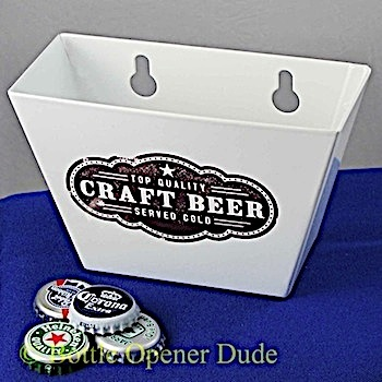 White craft beer metal cap catcher for wall mount bottle openers starr new ebay - Wall mounted beer bottle opener cap catcher ...